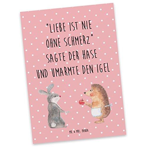 Mr. & Mrs. Panda Einladung, Geschenkkarte, Postkarte Liebe ist nie ohne Schmerz mit Spruch - Farbe Rot Pastell