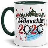 Tasse mit Spruch - Weihnachten 2020 - Motivtasse mit Virus und Mundschutz Geschenk zum Nikolaus Advent - Innen & Henkel Dunkelgrün