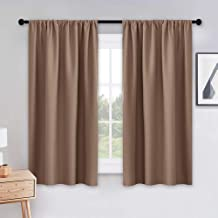 PONY DANCE Blackout Curtains & Draperies - Black Out Window Curtain 2 Panels Home Decoration Thermal Insulated Curtain Light Block Drapes Privacy Protect, 42 by 54 inches, Mocha, Set of 2