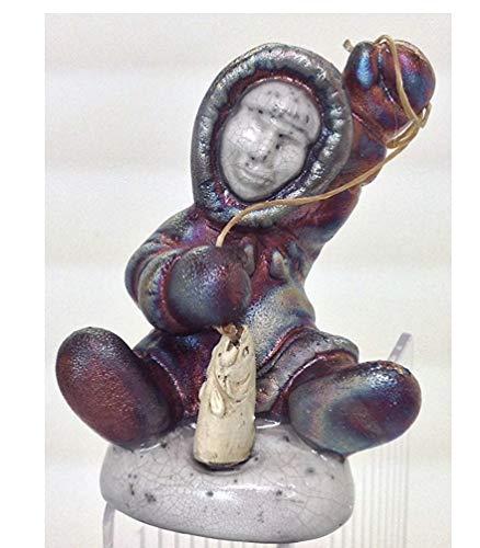 Handmade Raku Ceramic Pottery Eskimo Sitting with Fish Figurine