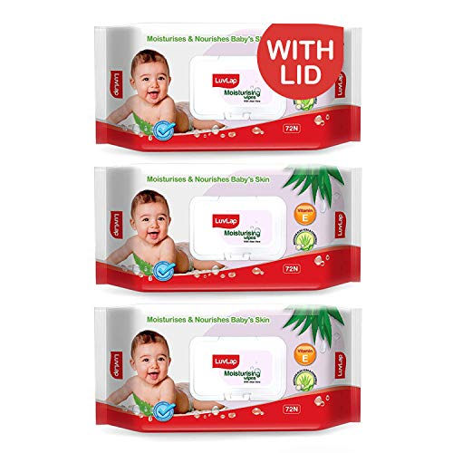 LuvLap Paraben Free Baby Wipes with Aloe Vera, with Fliptop Lid (72 Wipes/Pack, Pack of 3)
