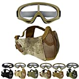 Outgeek Airsoft Mask, Lower Steel Mesh Mask Protective Half Face Mask UV Protection Glasses...