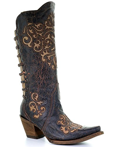 CORRAL Women's Inlay and Straps Cowgirl Boot Snip Toe Black 6 M US