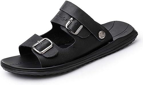 ChengxiO été Sandales en Cuir Hommes 2019 été Nouvelle Couche Supérieure en Cuir Décontracté Chaussures De Plage pour Hommes Sandales Décontracté et Pantoufles Hommes en Cuir Anti-Slip Trou Plage Chaussures