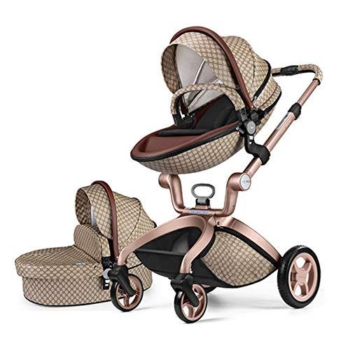 Cochecito 3 en 1 High Landscape Folding de dos vías de choque para bebé se puede sentarse y poner, fácil de transportar, 25 kg, ideal para aviones, color marrón