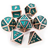Haxtec - Set di dadi in metallo D&D, in rame, color foglia di tè, per giochi di dungeons e draghi, smaltati lucidi, color foglia di tè