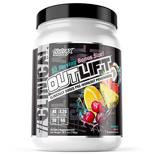 Nutrex Research Outlift Bonus Size   Clinically Dosed Pre-Workout Powerhouse, Citrulline, BCAA, Creatine, Beta-Alanine, Taurine, Banned Substance Free  Miami Vice  30 Servings