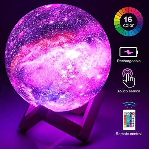 Lampada Luna 3D Stampata, 16 Colori Piena Lampada Moon con Diametro 15cm, Ricarica USB Decorativo Luce Lunare LED Luce Notturna per Stanza Letto Bambini Amici [Classe di efficienza energetica A+]