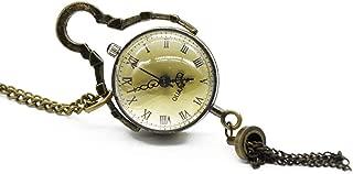 New Arrival Antique Vintage Glass Ball Bull Eye Necklace Pendant Chain Quartz Pocket Watch