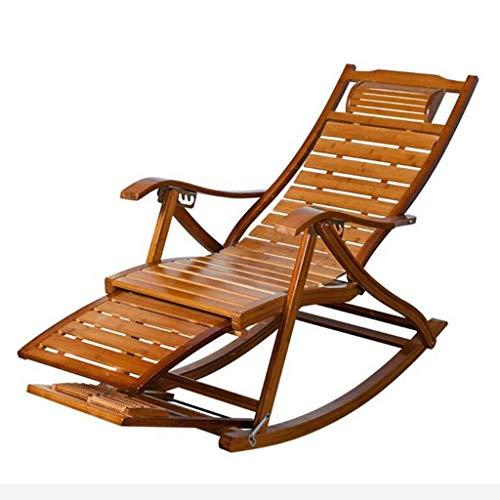 SGSG Mecedora Plegable de bambú, Tumbona de jardín reclinable para balcón al Aire Libre con reposapiés extendido Reposacabezas reclinable Ajustable