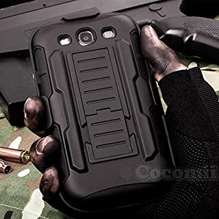 Cocomii Robot Armor Galaxy S3 Case New [Heavy Duty] Premium Belt Clip Holster Kickstand Shockproof Hard Bumper [Military Defender] Full Body Dual Layer Rugged Cover for Samsung Galaxy S3 (R.Black)