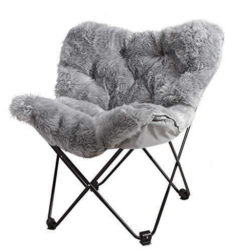 Plush Leisure Butterfly Chair Folding Chair for Tatami Casual Bedroom 55 * 55 * 86cm Gray (UnitCount : 1 pack)