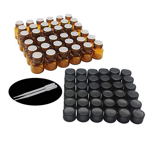 Yizhao Ambar Botellas de Aceite esencial de Vidrio Vacías 1ml,con Reductor de Orificio y Tapa,Para Aceites Esenciales, E-Líquidos,Aromaterapia,Perfumes,Masajes,Laboratorio de Química – 36 Pcs
