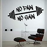 No Pain No Gain Haltérophilie Formation Gym Sticker Mural Musculation Éducation Physique Murale Vinyle Autocollant Chambre Deco 125x57cm