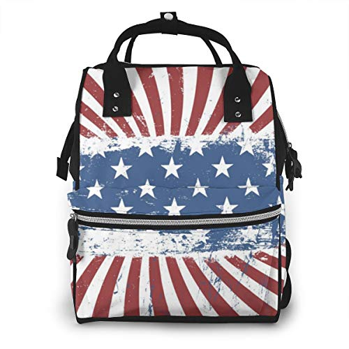 American Flag Background Vintage Abstract Baby Diaper Bag Backpack,Multi-Function Waterproof Large Capacity Travel Nappy Bags For Mom