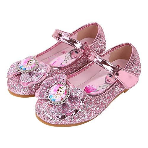 YOSICIL Zapatos de la Princesa Elsa niñas con Lentejuela Zapato de Disfraz Elsa Frozen de Princesa Disfraz Sandalias con Velcro Tacón Zapatos de Fiesta Halloween Cumpleaños Azul EU22-35