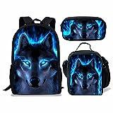 Chaqlin Neon Blue Wolf Sac à Dos d'école, Ensemble de Sacs d'école pour Animaux pour Enfants Grands Sacs à Livres + Sacs à Lunch + Étui à Crayons, Sac à Dos de Camping, randonnée, Ensemble de 3