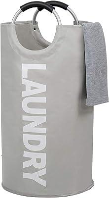 [Amazonブランド] Umi.(ウミ) ランドリーバスケット ランドリーかご 洗濯ボックス 収納袋 収納ボックス 収納バッグ 雑貨収納 防水取っ手付き 折りたたみ 容量82L (グレー, L )
