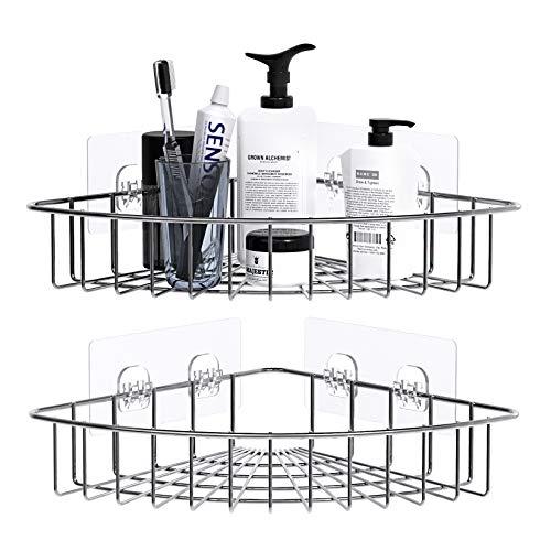 ZriEy Adhesivo Estantería de Esquina para Ducha Baño Triangular Organizador Acero Inoxidable Sus 304 Sin Perforar - Pack de 2
