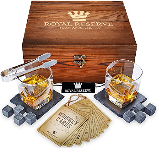 Whiskey Stones Set by Royal Reserve | Husband Birthday Artisan Crafted Chilling...