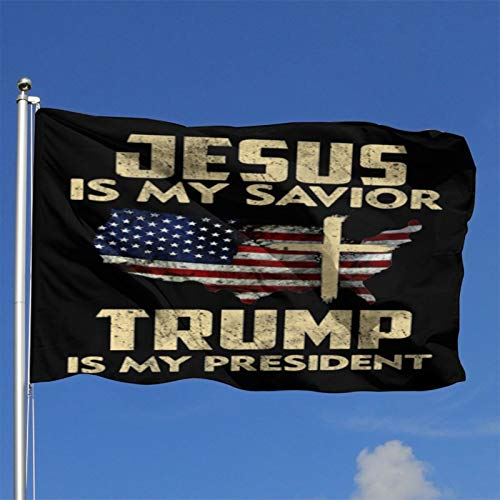 Tqptgd Vintage American Flag Jesus is My Savior Trump is My President Outdoor Flag Home Garden Flag Banner Breeze Flag USA Flag Decorative Flag 4x6 Ft Flag