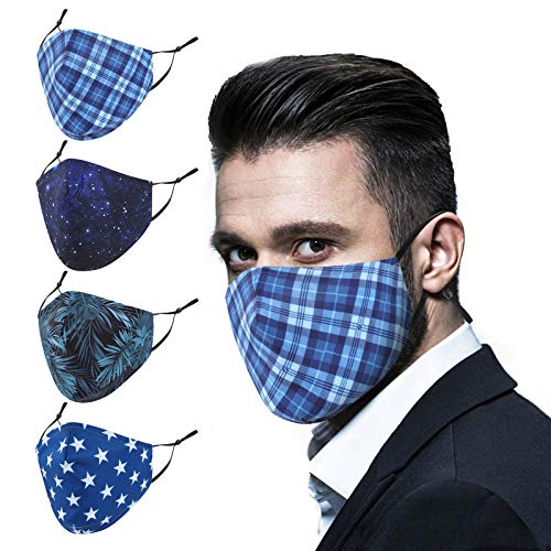 Starry Cloth Face Masks,Washable Reusable Adjustable Stars Lattice Fabric Bandanas Unisex Face Masks for Men Women with Nose Wire(4 Pack)