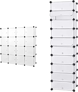 SONGMICS Armoire XXL, Meuble de Rangement, Étagère modulable, 16 Cubes, 143 x36 x 143 cm & ÉtagÈre À Chaussures, BoÎte À C...