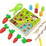 Juguetes Montessori 1 2 Años, Juego Educativo Bebe, Juego de Pesca Magnético 3 en 1, Zanahoria Rompecabezas, Juguetes de Motricidad Madera Infantil, Regalo de Cumpleaños/Navidad Niños Niñas Pequeños