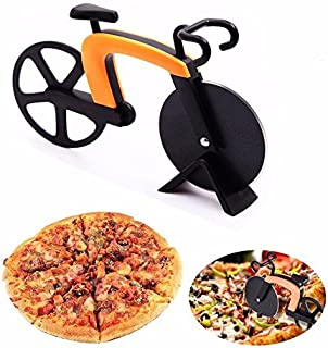 G.a HOMEFAVOR Bicycle Pizza Cutter Wheel Non-Stick Cutting Wheel Dual Stainless Steel best for Holiday Vacation Housewarming Cool Kitchen Gadget Gift with Stand