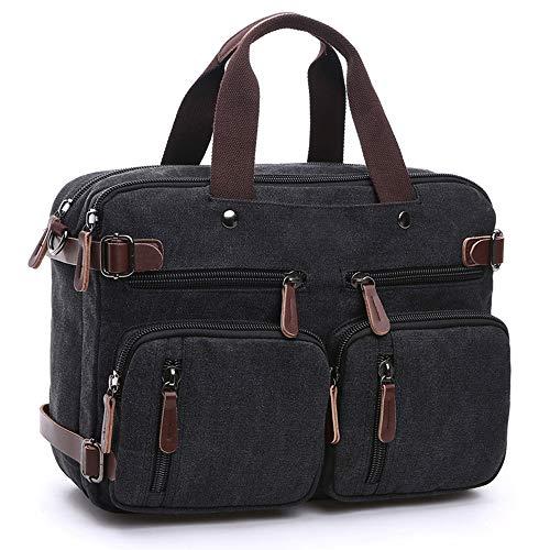 Baulanna Canvas Arbeitstasche Rucksack für Damen Herren Vintage Segeltuch Business Rucksäcke Laptoptasche 15,6 Zoll, Retro Aktentaschen Schultasche Umhängetasche (Schwarz)