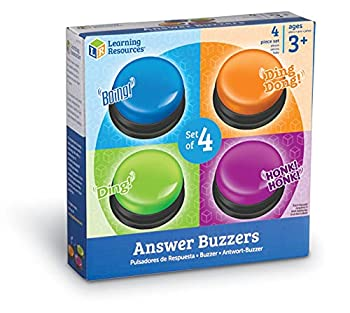 Learning Resources Answer Buzzers Set of 4 Assorted Colored Buzzers Game Show Buzzers 3-1/2in Multicolor Ages 3+