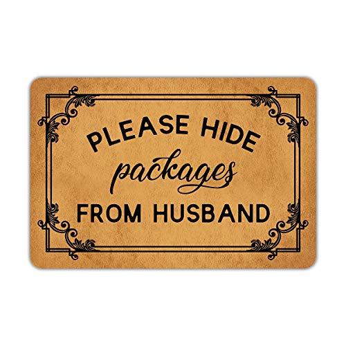 Front Door Mat Welcome Mat Please Hide Packages from Husband Rubber Non Slip Backing Funny Doormat Indoor Outdoor Rug 23.6'(W) X 15.7'(L)