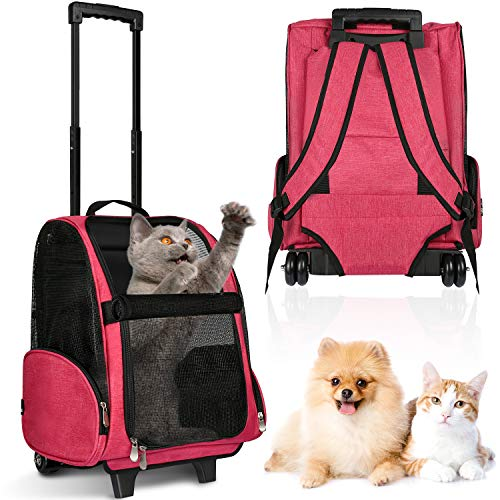 WINGPET Pet Rolling Carrier, Dog Backpack with Wheels, Travel Backpack Pet Carrier with Double Wheels Cats, Puppies Travel Bag with Wheels, Dog Trolley Airline Approved