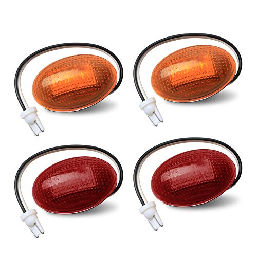 HERCOO LED Dually Bed Fender Side Marker Lights Front Rear Lamps Compatible with Ford 1999-2010 F350 F450 F550 Super Duty, Amber & Red