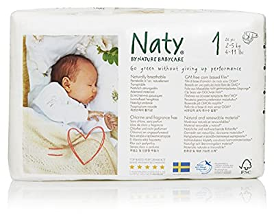 Naty by Nature Babycare Eco-Friendly Premium Disposable Diapers for Sensitive Skin, Size 1, 4 packs of 26 (104 Count) (Chemical, chlorine, perfume free)