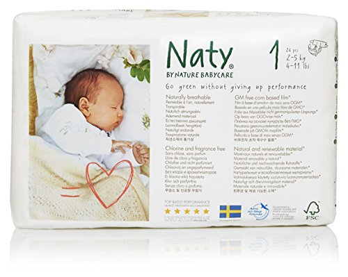 Nature Babycare Newborn Size 1 (4-11 lbs/2-5 kg) Nappies - 4er Pack (4*26 Stück)