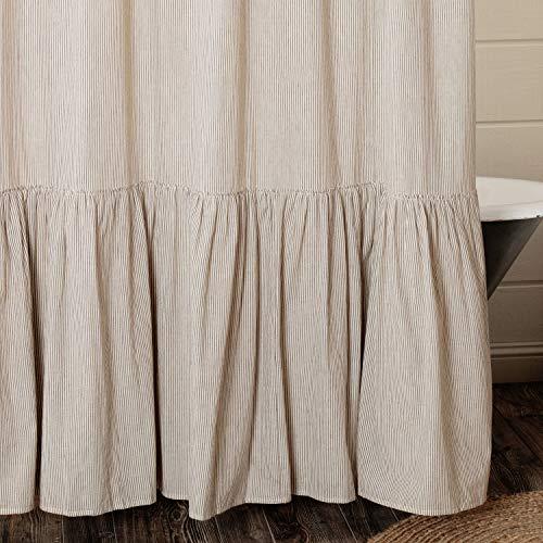"Sara's Ticking Ruffled Shower Curtain, 72"" x 72"", Black & Cream Mini Mini Stripe, Vintage Farmhouse Bath, Country Cottage Bathroom Décor"