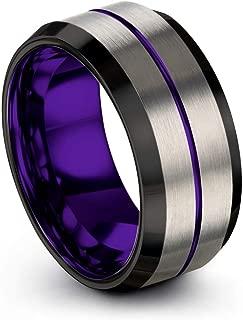 Tungsten Carbide Wedding Band Ring 10mm for Men Women Green Red Blue Purple Black Center Line Grey Exterior Bevel Edge Brushed Polished
