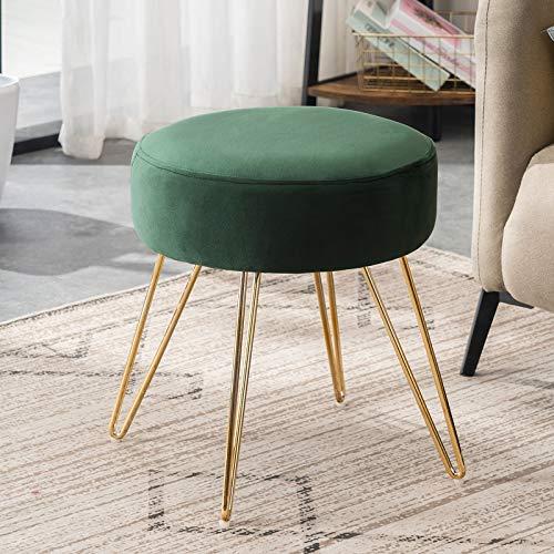 APICIZON Velvet Vanity Footrest Stool Ottoman, Round Mid-Century Modern Luxe Velvet Footroot with 4 Golden Metal Legs Upholstered Makeup Chair for Bedroom Living Room