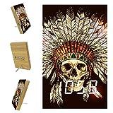 Yumansis Cráneo Tribal Indio Reloj Despertador Digital LED Temporizador de Despertador Reloj de cabecera con repetición, batería incluida, para Dormitorio, Oficina 3.8In