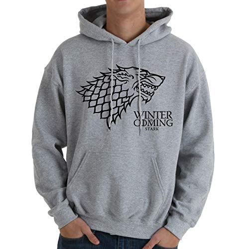 Desconocido Winter is Coming - Sudadera con Capucha y Bolsillos