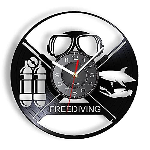 GVSPMOND Reloj de Pared de Vinilo de Buceo Libre Submarino Ocean Shark Animal Reloj de Pared Diver Gift
