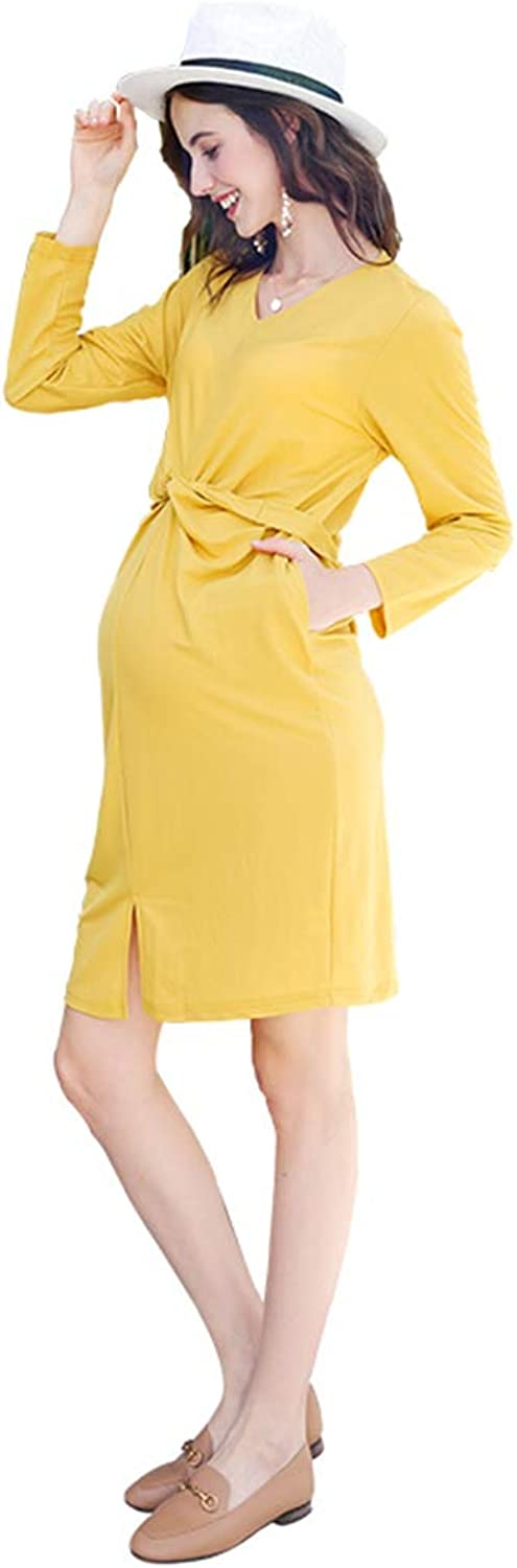 Casual Maternity Clothes Pregnant Women Yellow Cotton Dress Adjustable Waist Circumference Outwear Skirt Soft and Snug Pregnant Women Gift Wear to Work (color   Yellow, Size   M)