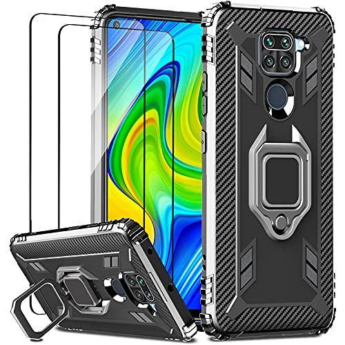 IMBZBK für Xiaomi Redmi Note 9 Hülle + [2 Stück] Xiaomi Redmi Note 9 Panzerglas Schutzfolie, [Military Grade Schutz] [360 Grad Drehung Fingerring Ständer] Silikon weiches TPU