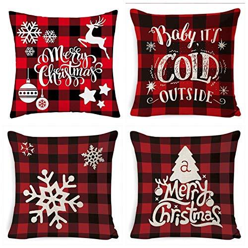 ASDQW Christmas Cushion Covers,4Pcs Soft Square Pillow Case With Christmas Bless Tartan Printed Red Cushion Covers For Garden Bedroom Christmas Home Decorative,80X80Cm