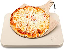 Pizza Stone by Hans Grill Baking Stone For Pizzas use in Oven and Grill / BBQ FREE Wooden Pizza Peel Rectangular Board...