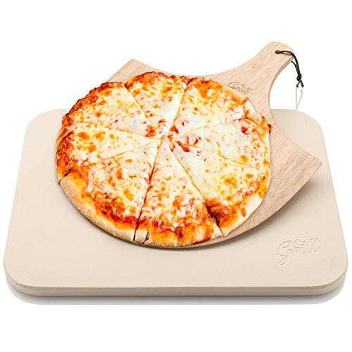 Pietra per pizza Hans Grill, pietra da cottura per forno e barbecue bbq con tavoletta in legno per cottura pizza |Set in legno resistente, spesso e originale, rettangolare, facile da maneggiare
