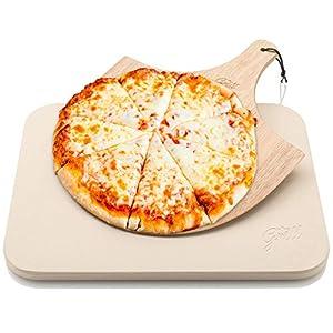 Piedra de Pizza para Horno y Parrilla con Tabla de Madera Hans Grill| Larga Duración, Buen Espesor y de Madera Real, Rectangular y Fácil de Manipular | Apta para Tartas, Pasteles, Pan, Calzones, y Más