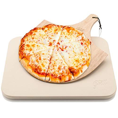 Pierre à pizza Hans Grill pour four et barbecue avec pelleà pizza enbois  Boisvéritablesolideet épais, rectangle, facile à manier  Cuisez, grilleztartes, pâtisseries, biscuits, pain, chaussons