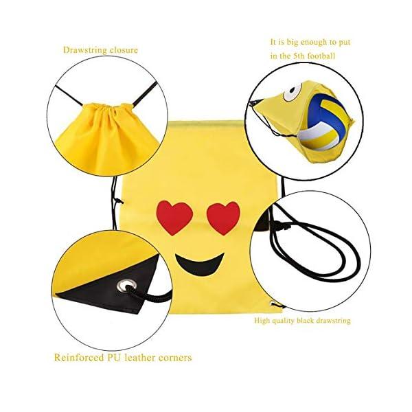 518trFzmKCL. SS600  - Emoji Bolsas de Cuerdas BESTZY 6PCS Mochilas Petate Emoticonos Emoji Mochilas Petates Infantiles Bolsas Regalo Cumpleaños Deporte Gimnasio Backpack